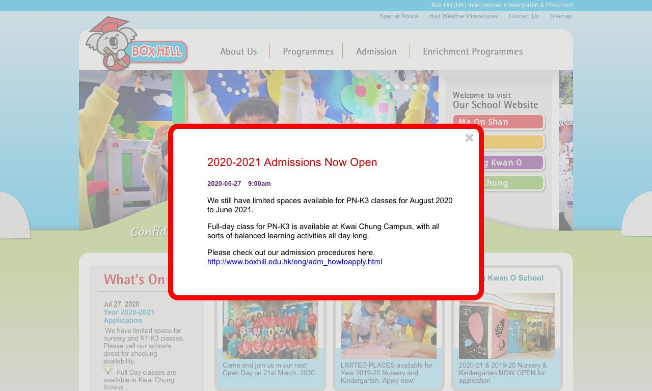 Screenshot of the Home Page of BOX HILL (HK) INTERNATIONAL KINDERGARTEN