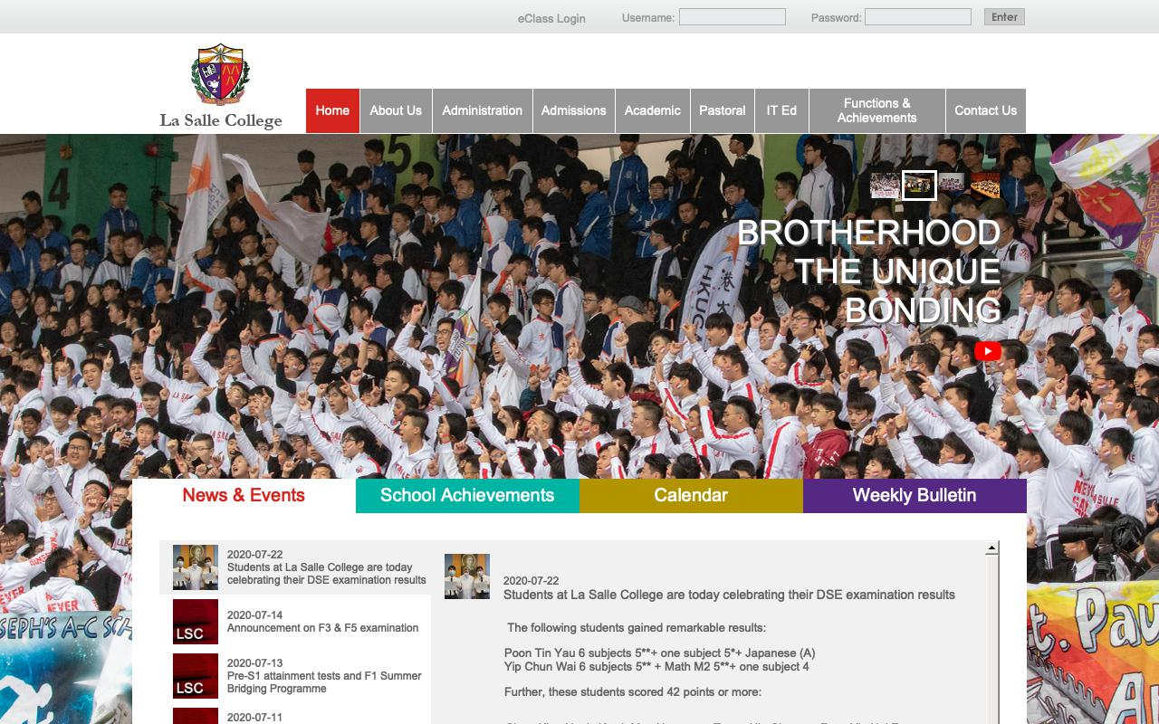 Screenshot of the Home Page of La Salle College