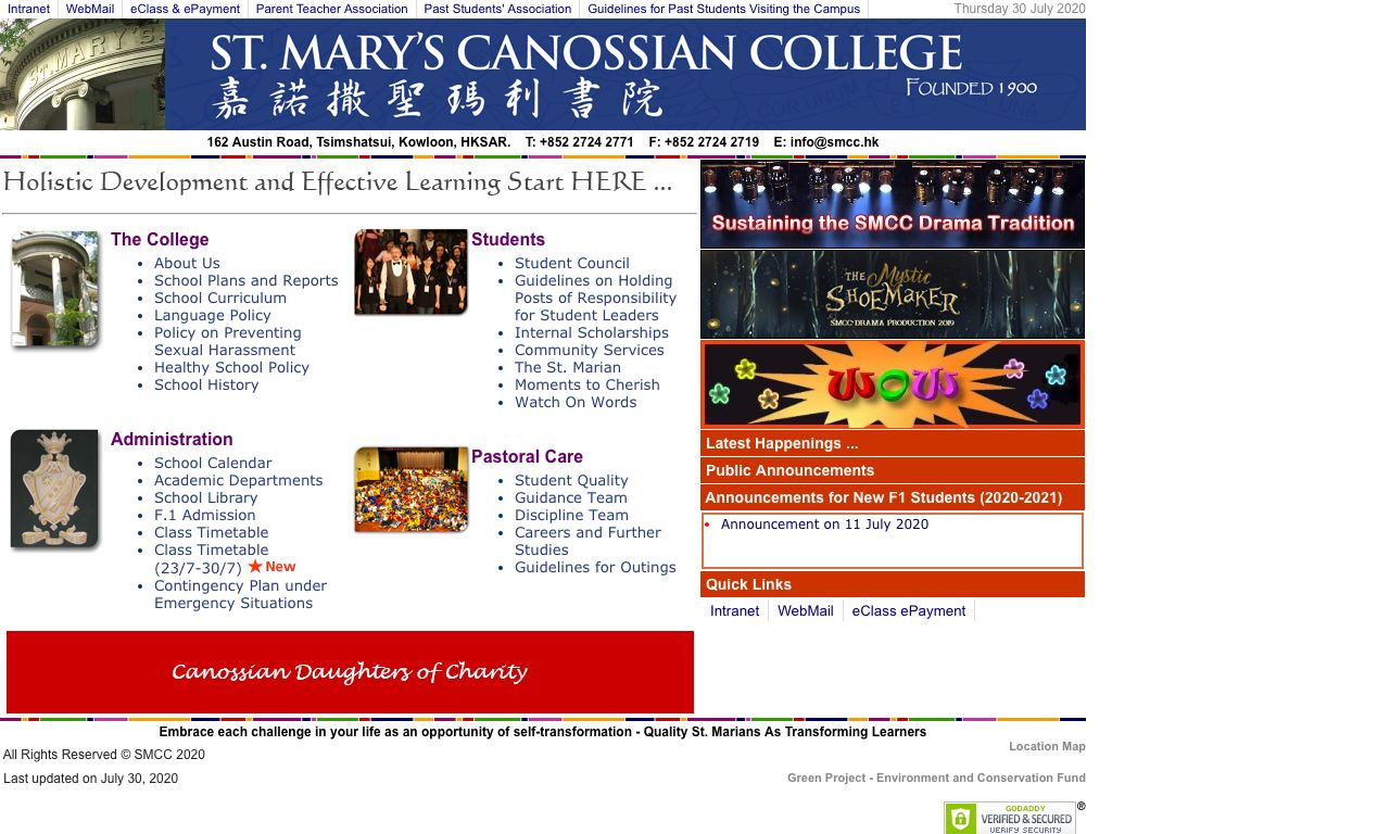 Screenshot of the Home Page of St. Mary's Canossian College
