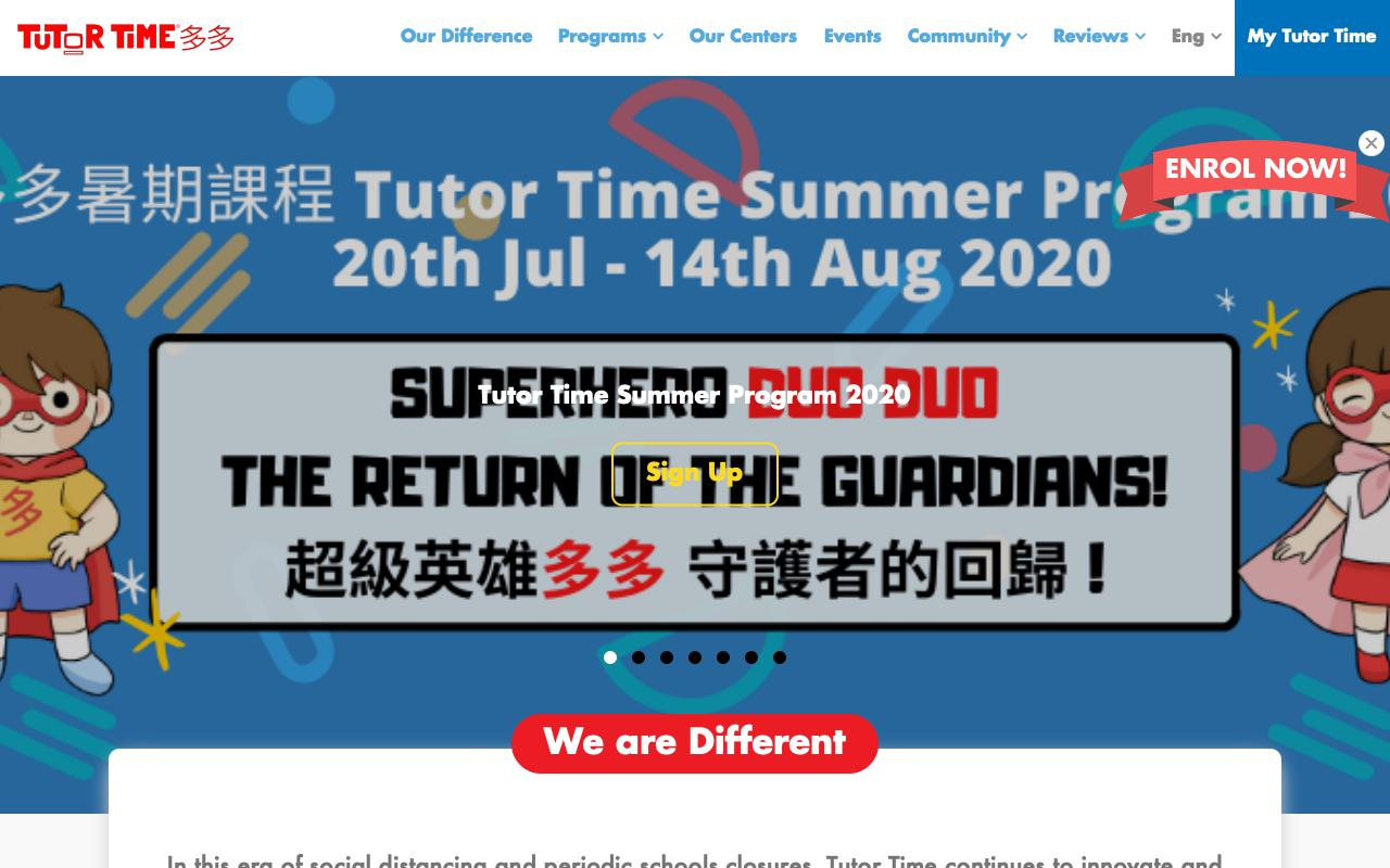 Screenshot of the Home Page of TUTOR TIME INTERNATIONAL KINDERGARTEN (KOWLOON TONG)