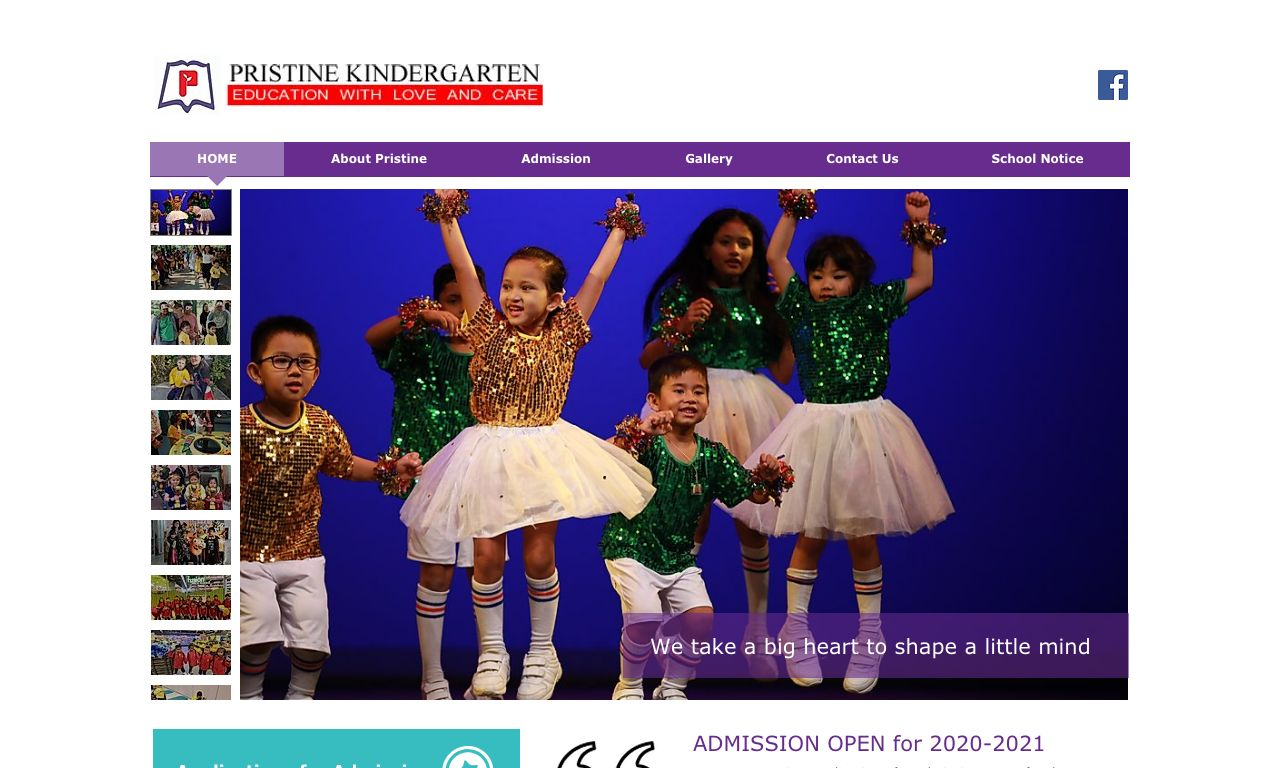 Screenshot of the Home Page of PRISTINE KINDERGARTEN