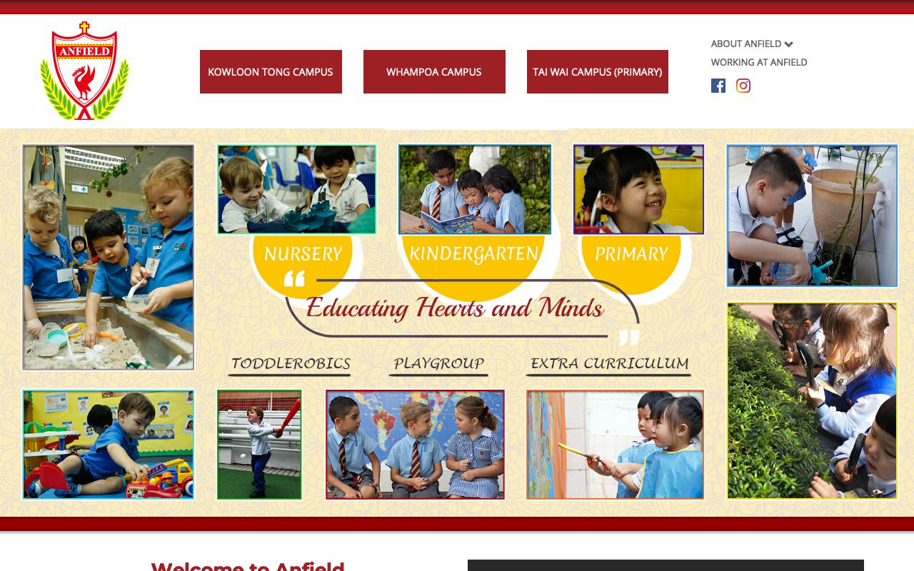 Screenshot of the Home Page of ANFIELD INTERNATIONAL KINDERGARTEN