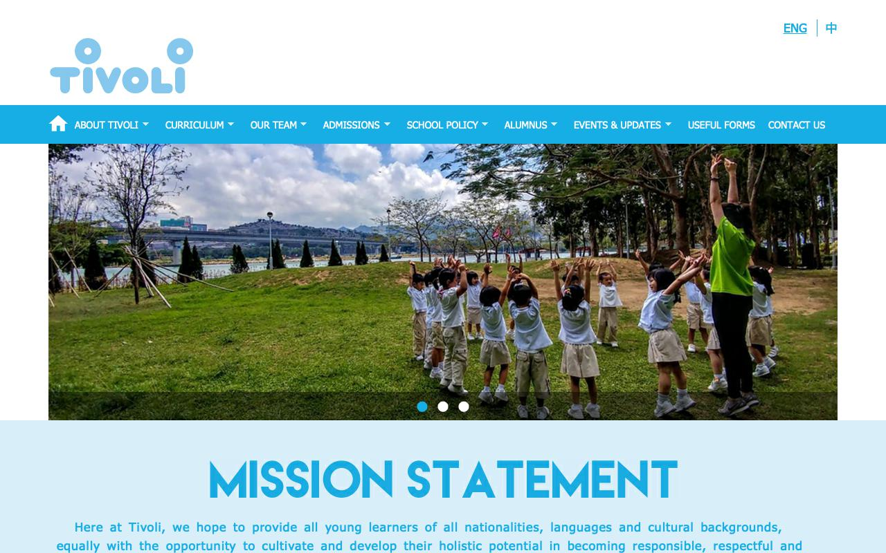 Screenshot of the Home Page of TIVOLI ANGLO-CHINESE KINDERGARTEN