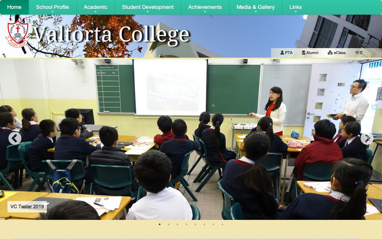 Screenshot of the Home Page of Valtorta College
