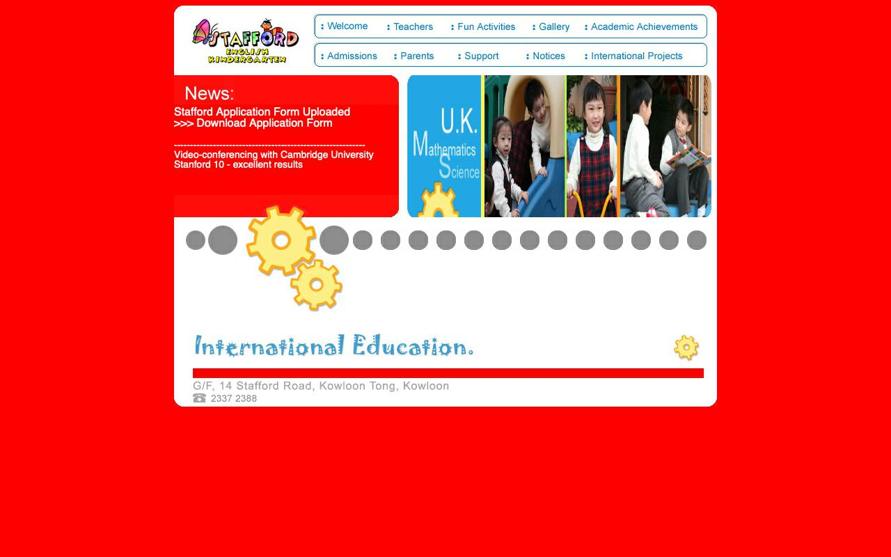 Screenshot of the Home Page of STAFFORD ENGLISH KINDERGARTEN