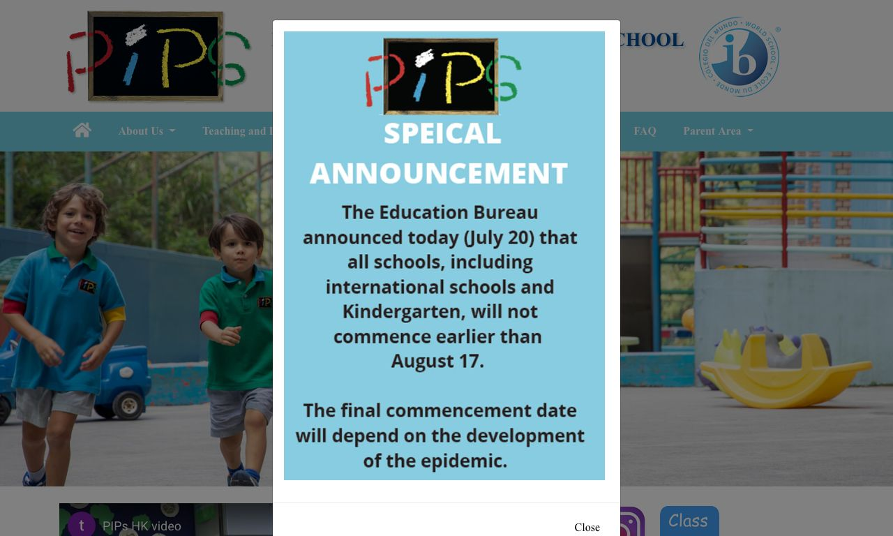 Screenshot of the Home Page of PARKVIEW INTERNATIONAL PRE-SCHOOL