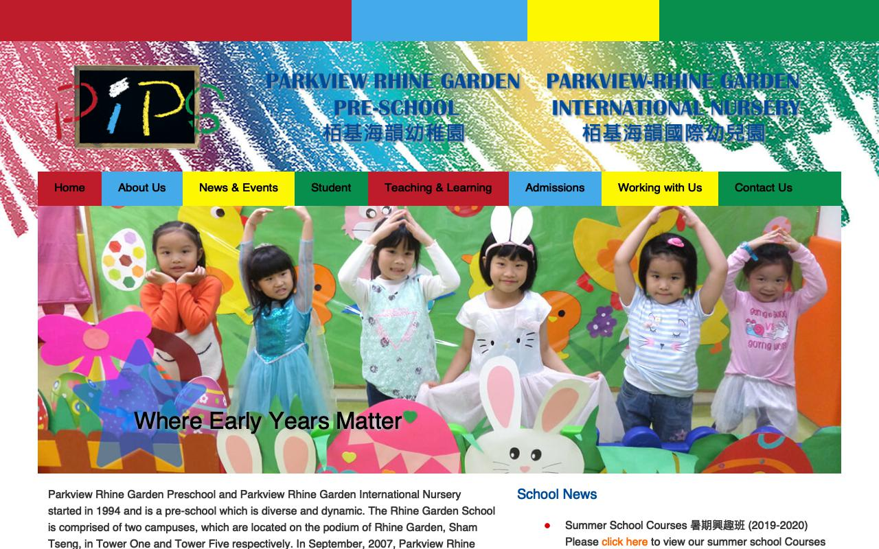 Screenshot of the Home Page of PARKVIEW RHINE GARDEN PRE-SCHOOL