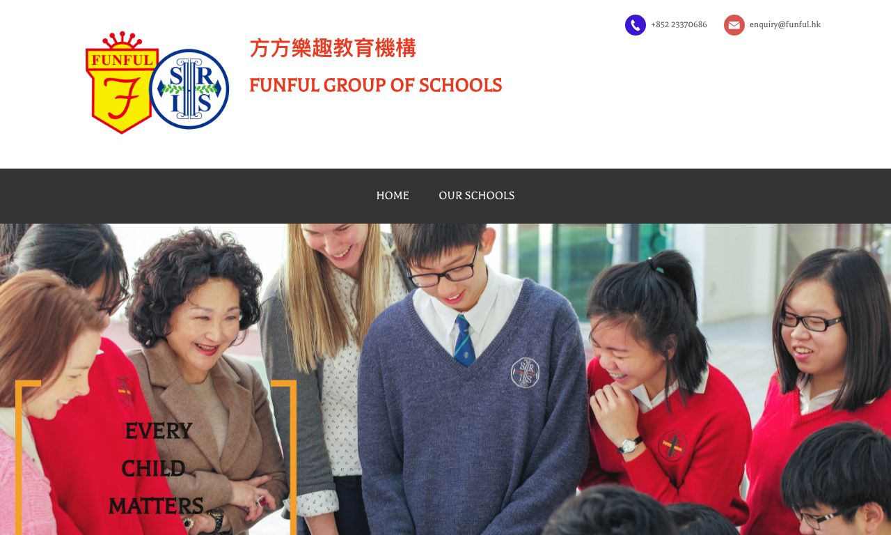 Screenshot of the Home Page of RIVIERA FUNFUL KINDERGARTEN