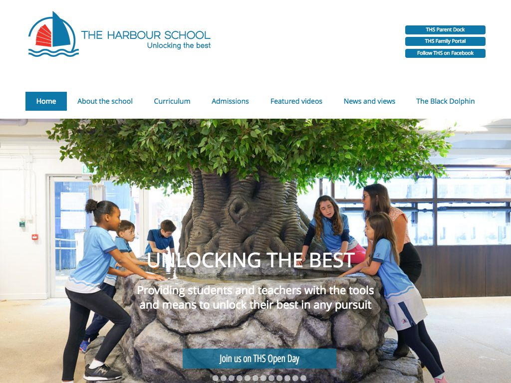 Screenshot of the Home Page of THE HARBOUR SCHOOL