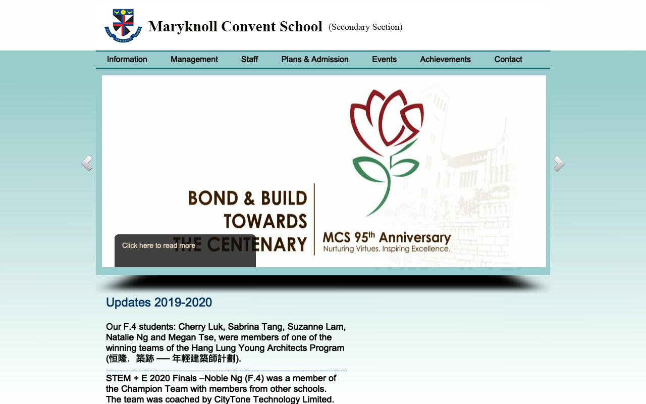Screenshot of the Home Page of Maryknoll Convent School (Secondary Section)