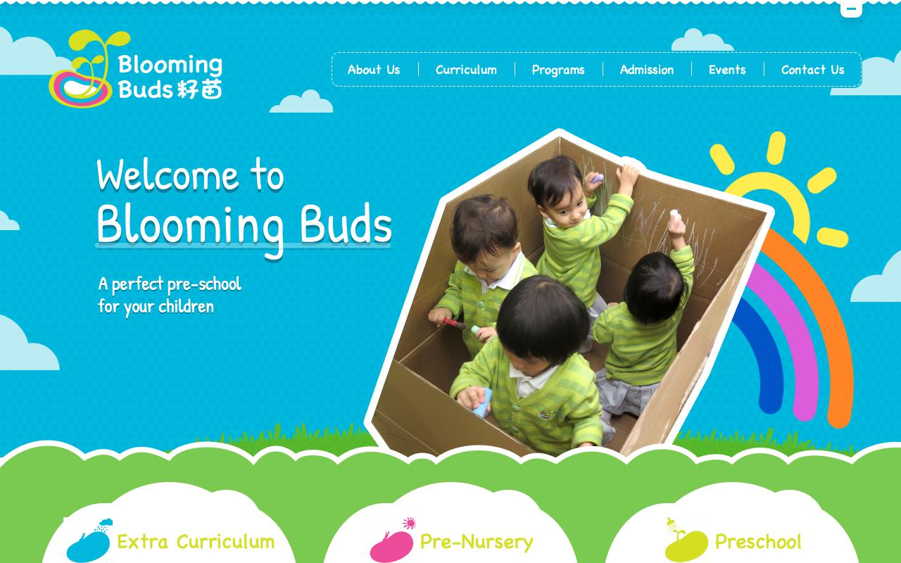 Screenshot of the Home Page of BLOOMING BUDS PRESCHOOL