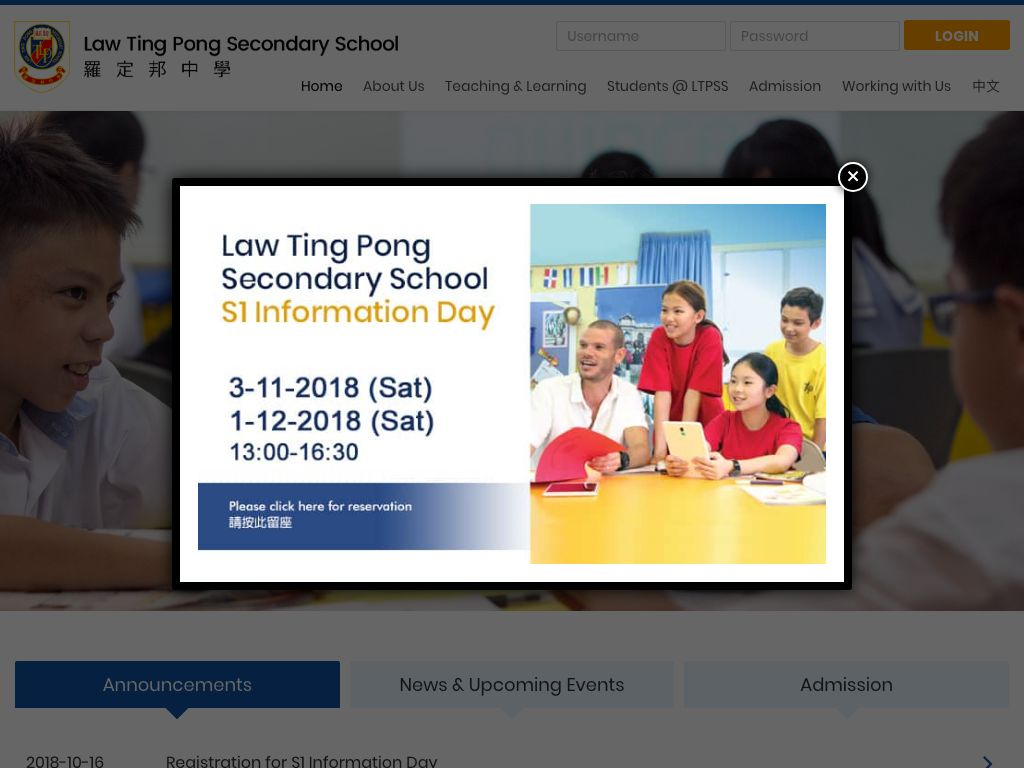 Screenshot of the Home Page of Law Ting Pong Secondary School
