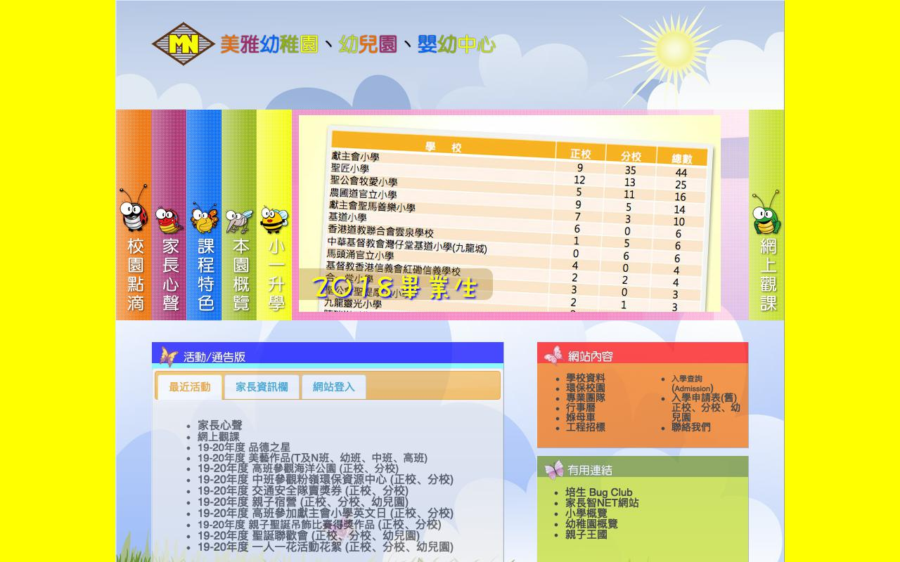 Screenshot of the Home Page of MAY NGA KINDERGARTEN (BRANCH)