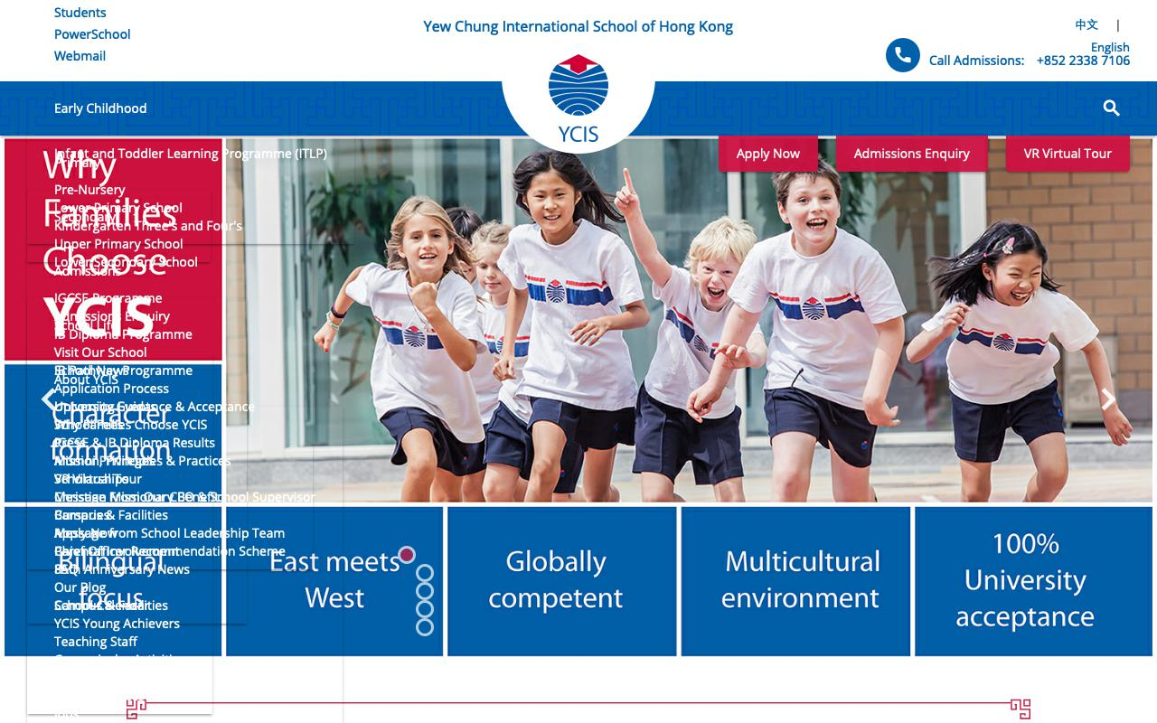 Screenshot of the Home Page of YEW CHUNG INTERNATIONAL CHILDREN'S HOUSE (KENT ROAD)