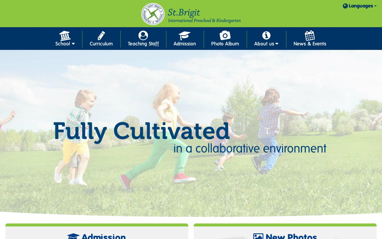 Screenshot of the Home Page of SAINT BRIGIT INTERNATIONAL KINDERGARTEN