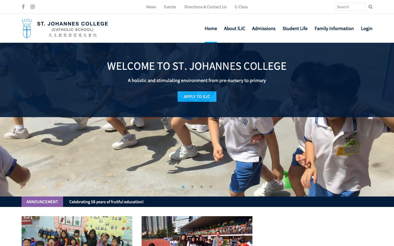 Screenshot of the Home Page of St. Johannes College (Primary Section)