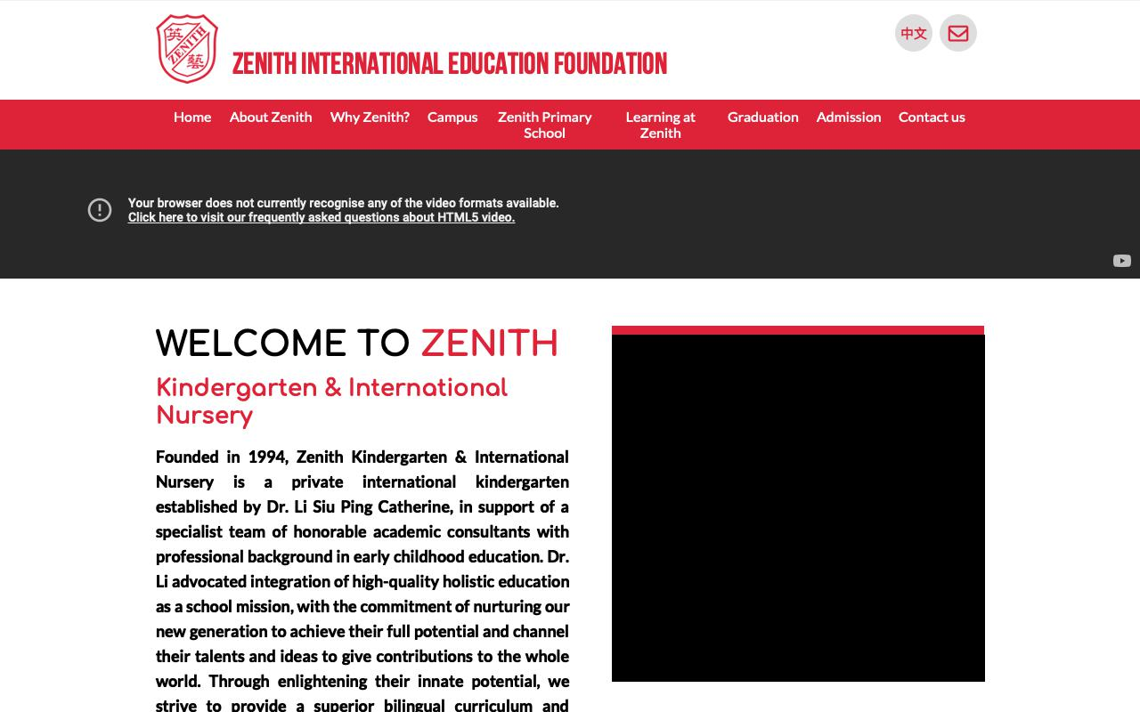 Screenshot of the Home Page of ZENITH KINDERGARTEN (SHATIN)