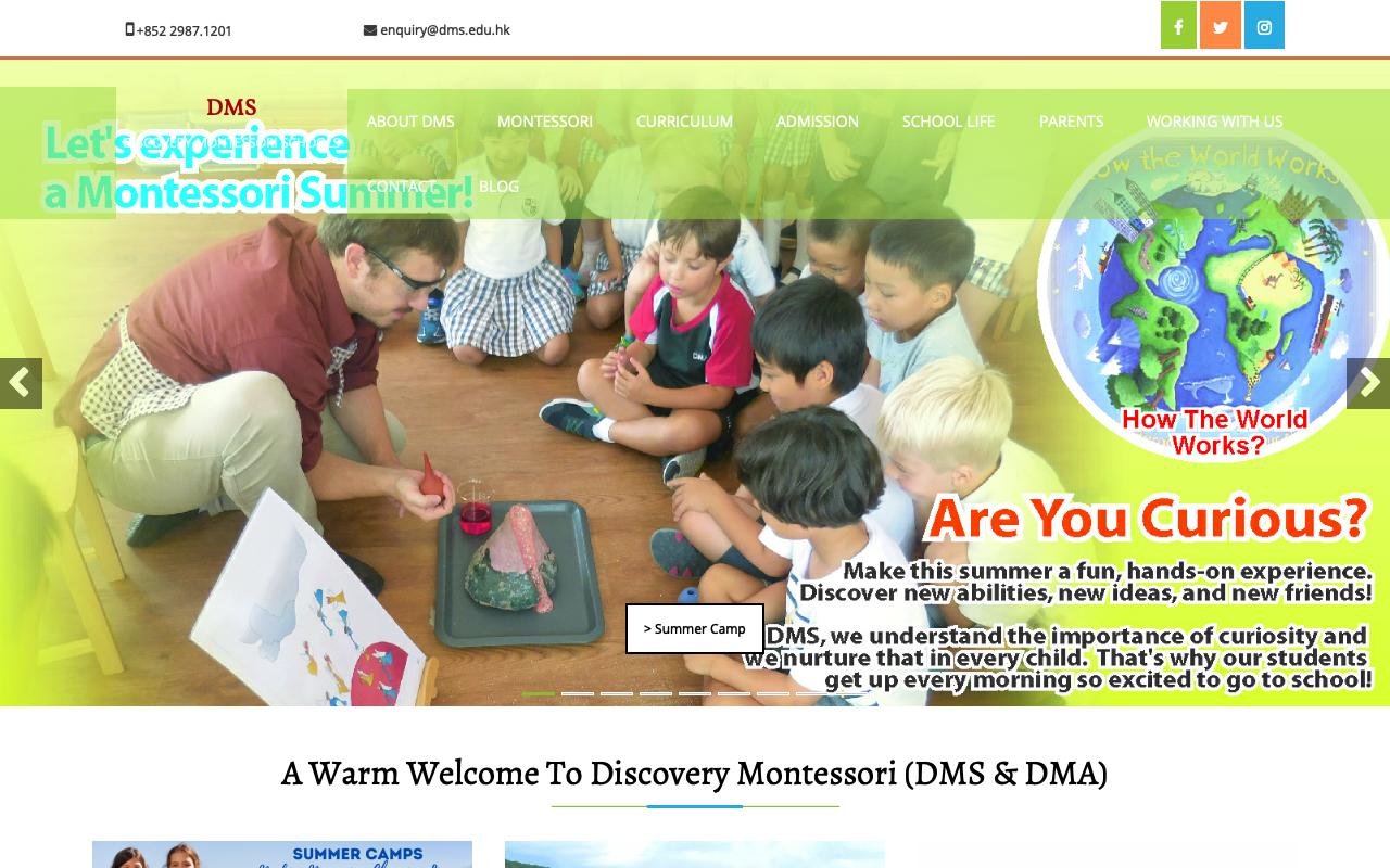 Screenshot of the Home Page of DISCOVERY MONTESSORI SCHOOL