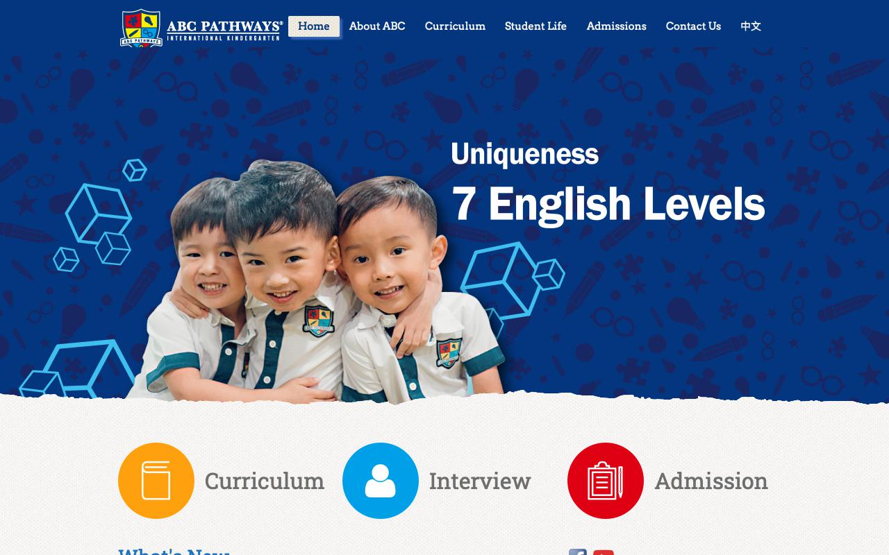 Screenshot of the Home Page of ABC PATHWAYS INTERNATIONAL KINDERGARTEN