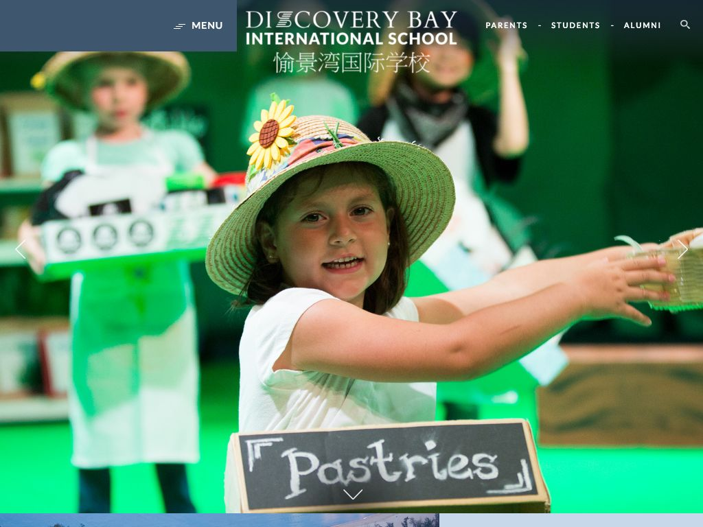 Screenshot of the Home Page of DISCOVERY BAY INTERNATIONAL SCHOOL