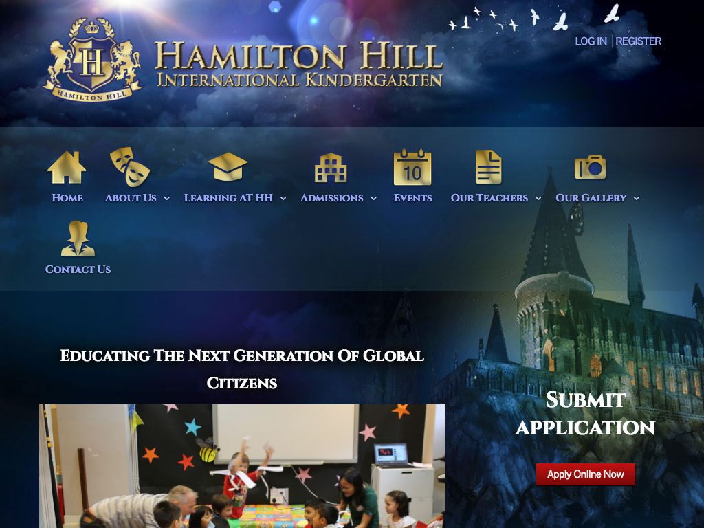 Screenshot of the Home Page of HAMILTON HILL INTERNATIONAL KINDERGARTEN