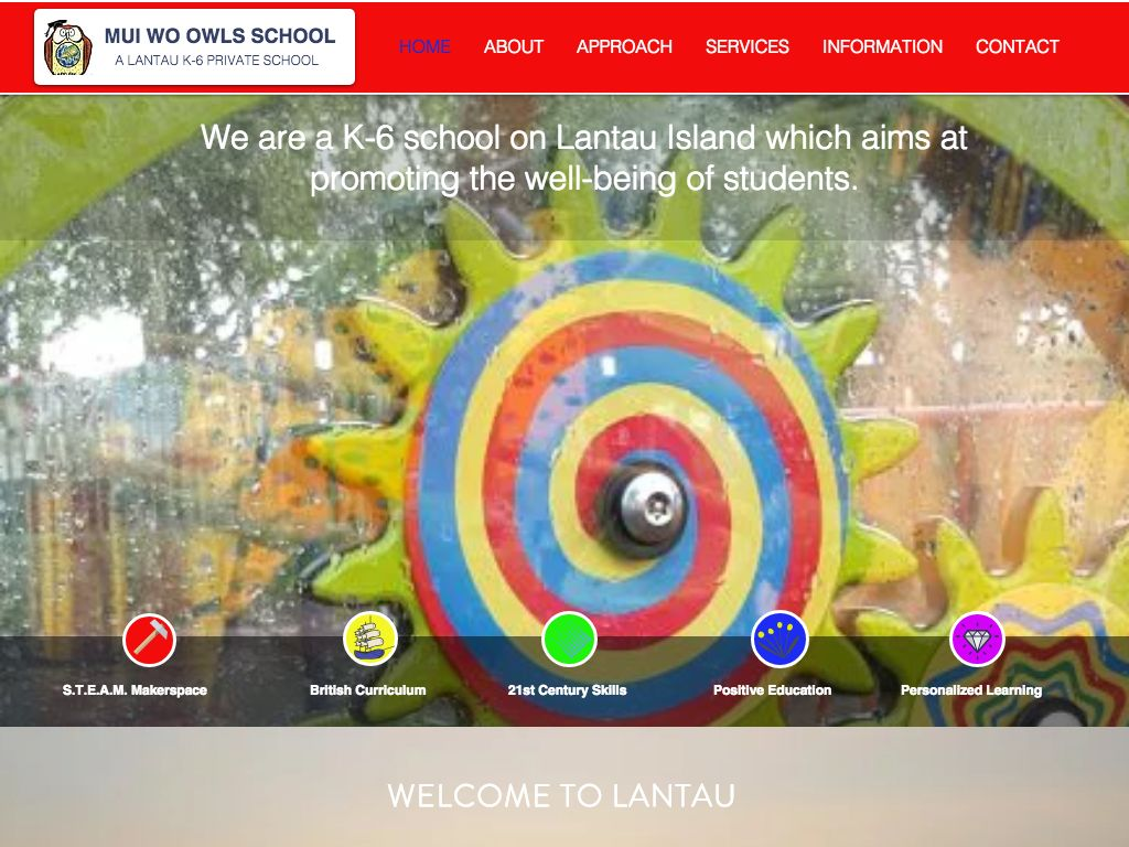 Screenshot of the Home Page of MUI WO OWLS SCHOOL
