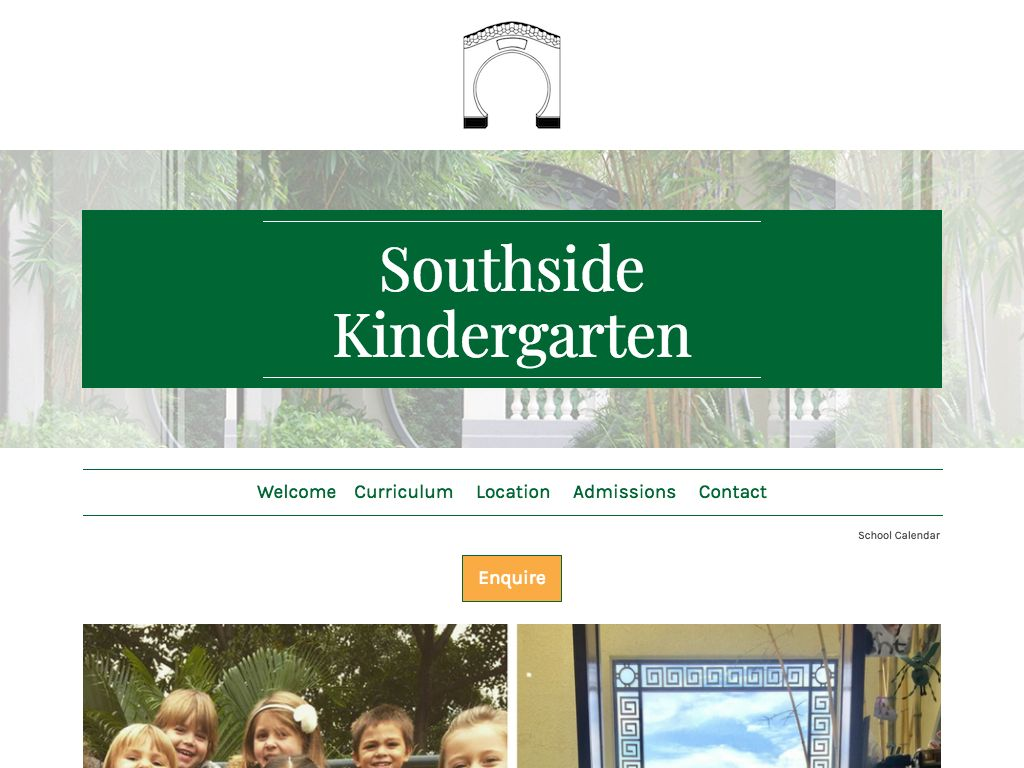 Screenshot of the Home Page of SOUTHSIDE KINDERGARTEN