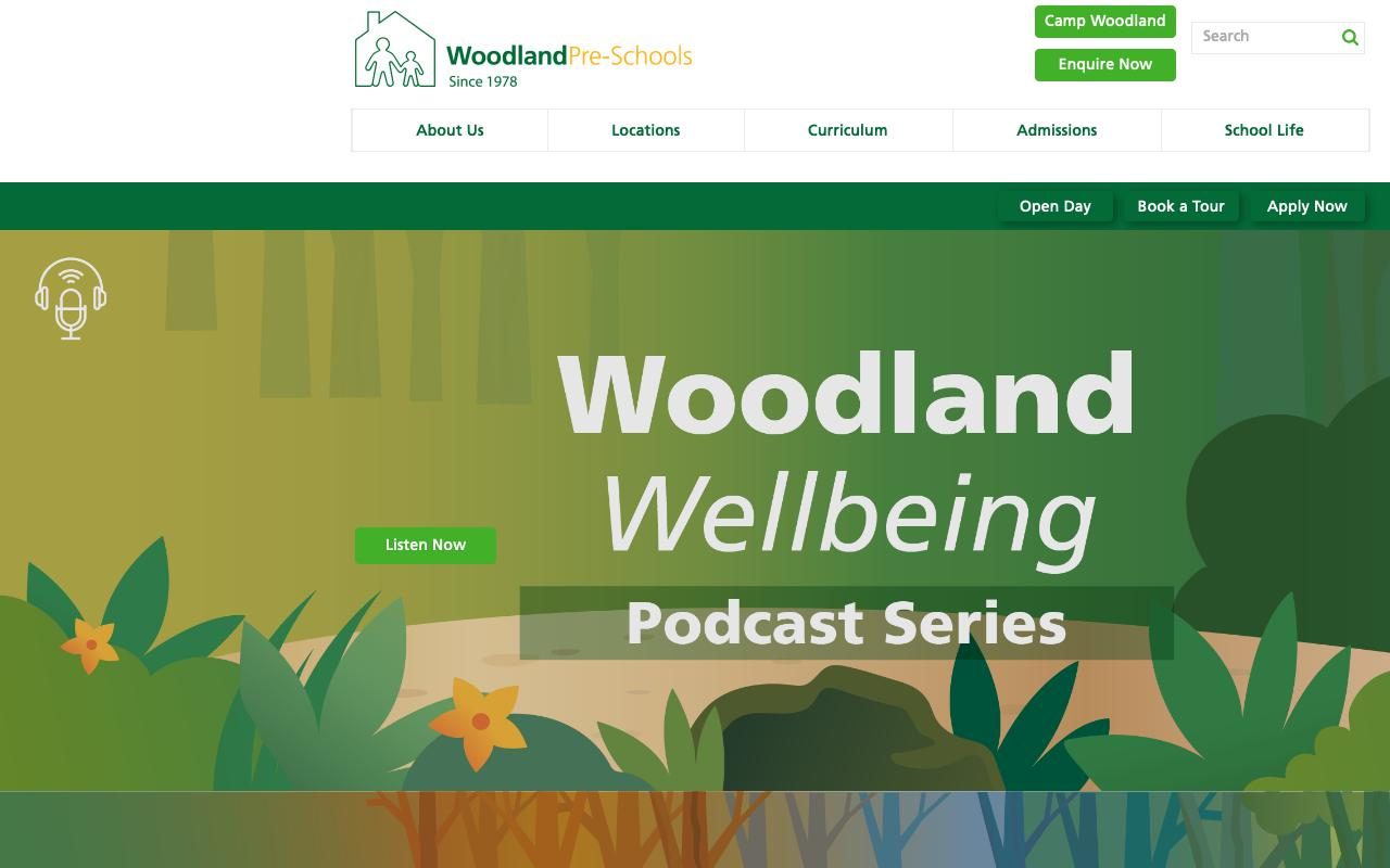 Screenshot of the Home Page of THE WOODLAND MONTESSORI PRE-SCHOOL (CAINE ROAD)